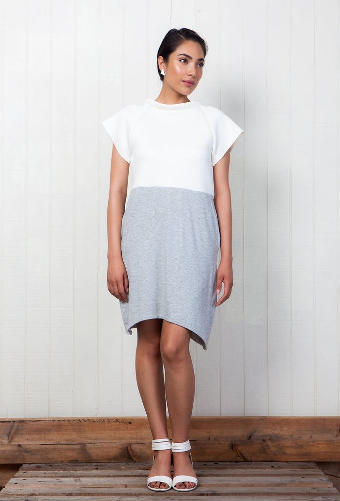 neoprene white and grey dress pockets pistolette