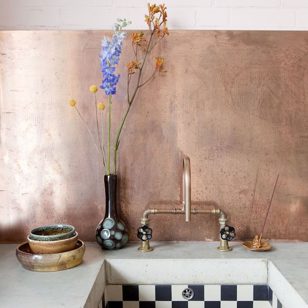 Copper Kitchen Taps & Splashback