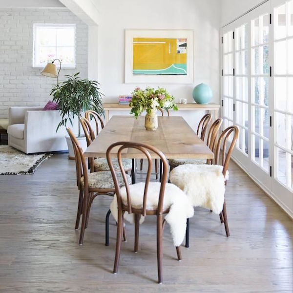 DINING TABLE WITH SHEEPSKIN