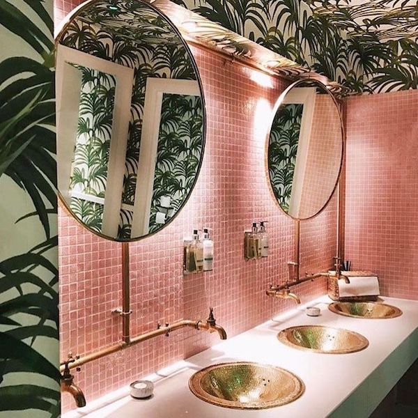 PINK AND PALM RESTROOM