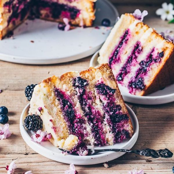 Vegan Lemon and Blueberry Layer Cake