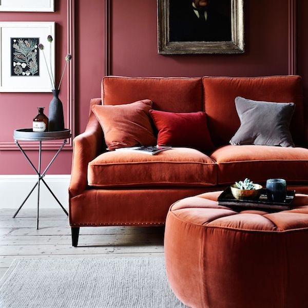 Red Velvet Sofa and Footstool