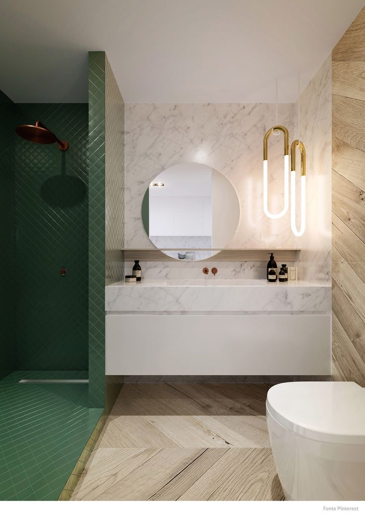 Green Tiled & Marble Bathroom