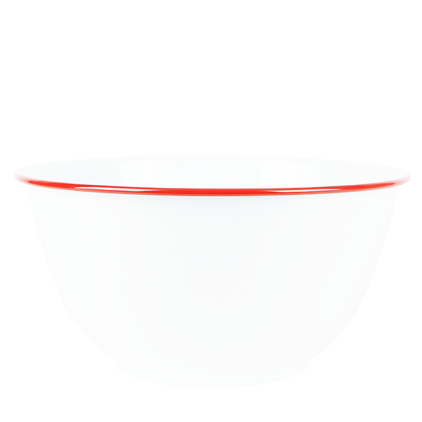 LARGE SALAD BOWL SOLID WHITE WITH RED