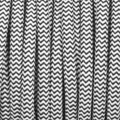 BLACK & WHITE ZIG ZAG ROUND FABRIC CABLE