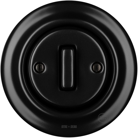 PORCELAIN WALL SWITCH MATT BLACK SLIM BUTTON