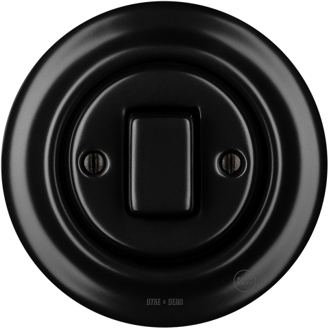PORCELAIN WALL SWITCH MATT BLACK FAT BUTTON