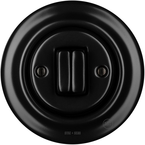 PORCELAIN WALL SWITCH MATT BLACK DOUBLE