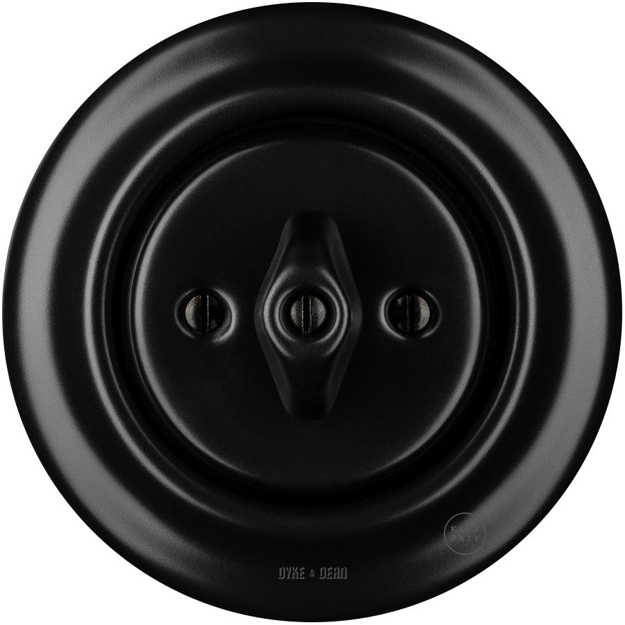 PORCELAIN WALL LIGHT SWITCH MATT BLACK ROTARY