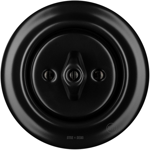PORCELAIN WALL SWITCH MATT BLACK ROTARY