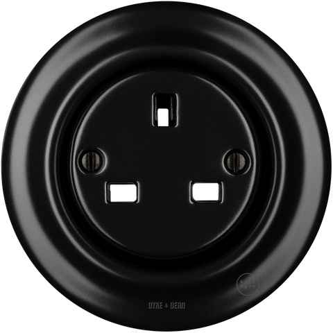 PORCELAIN WALL SOCKET MATT BLACK UK