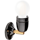 DYKE & DEAN BLACK CERAMIC LAMP BRASS ELBOW