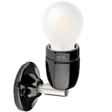 DYKE & DEAN BLACK CERAMIC LAMP CHROME ELBOW