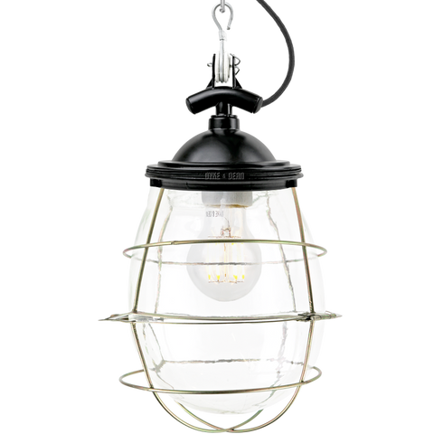 BELL JAR INDUSTRIAL LIGHT BLACK BRASS CAGE