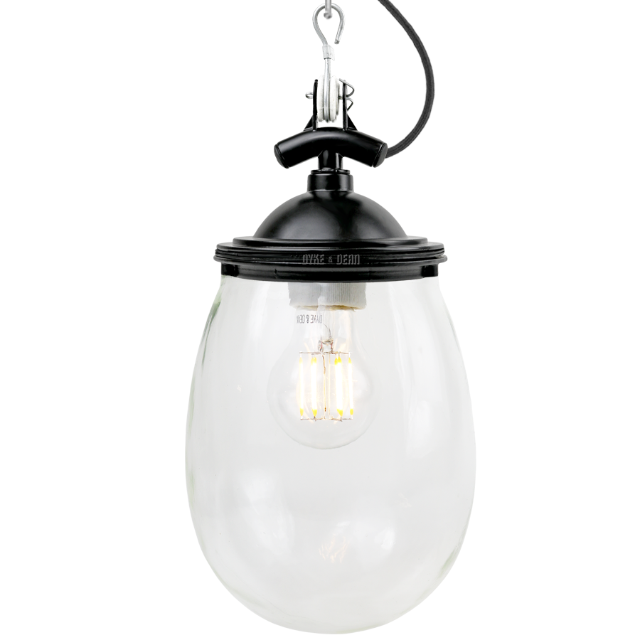 BELL JAR INDUSTRIAL LIGHT BLACK CLEAR GLASS - OTHER LIGHTS - DYKE & DEAN  - Homewares | Lighting | Modern Home Furnishings