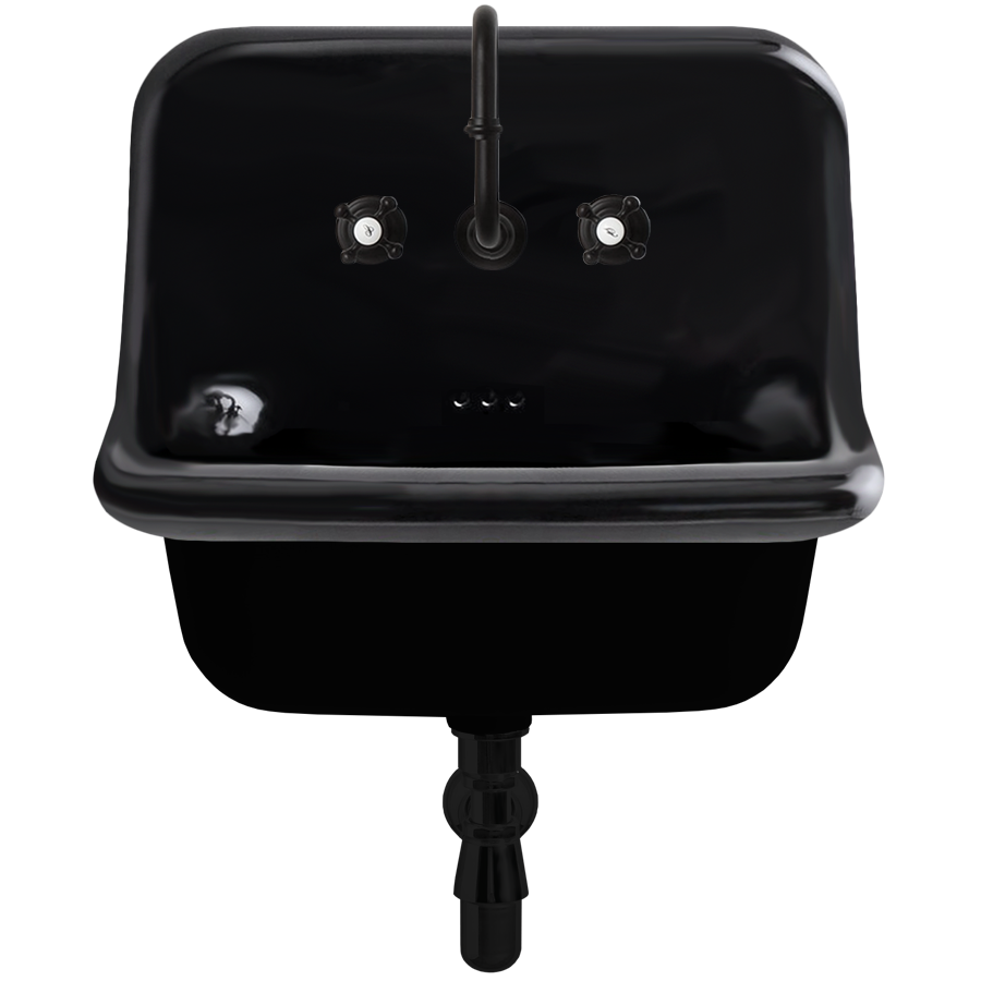 CERAMIC MOUNTED MEDIUM SINK BLACK