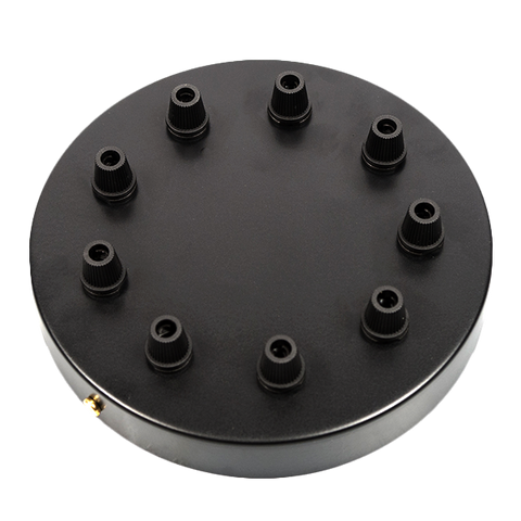 BLACK 9 WAY LARGE CABLE CEILING ROSE