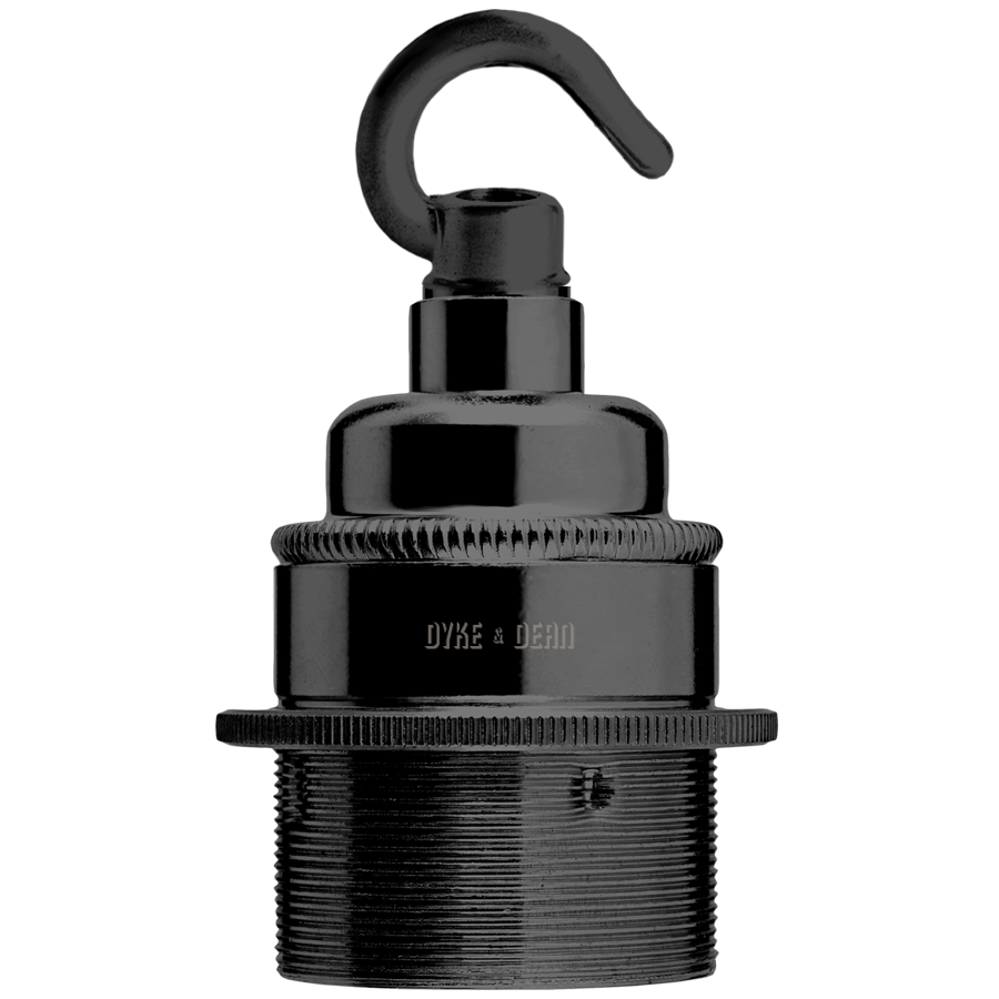 BLACK PLATED E27 METAL BULB HOLDER HOOKED
