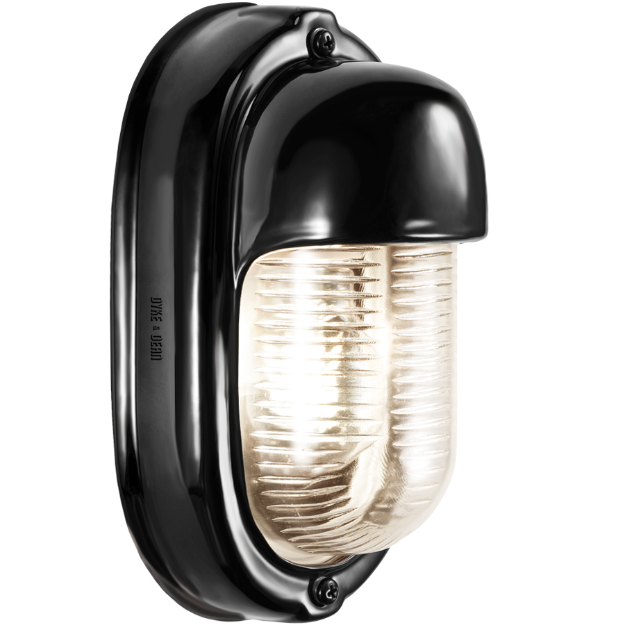 BLACK PORCELAIN VERTICAL BULKHEAD LAMP