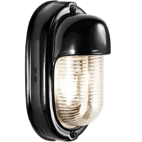 BLACK PORCELAIN VERTICAL BULKHEAD LAMP - BATHROOM / OUTDOOR LIGHTS - DYKE & DEAN  - Homewares | Lighting | Modern Home Furnishings