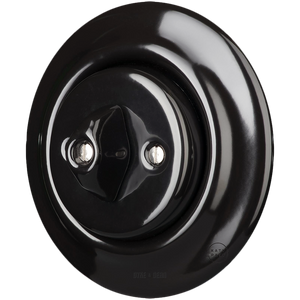PORCELAIN WALL LIGHT SWITCH BLACK ROTARY - PORCELAIN WALL SWITCHES - DYKE & DEAN  - Homewares | Lighting | Modern Home Furnishings