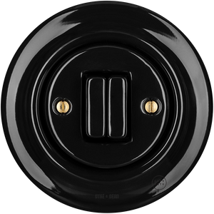 PORCELAIN WALL SWITCH BLACK DOUBLE