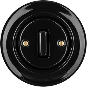 PORCELAIN WALL SWITCH BLACK SLIM BUTTON