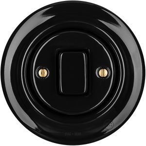 PORCELAIN WALL SWITCH BLACK FAT BUTTON