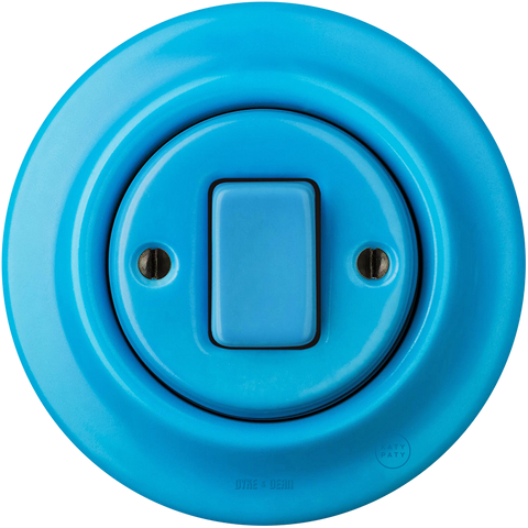 PORCELAIN WALL SWITCH AZURE FAT BUTTON