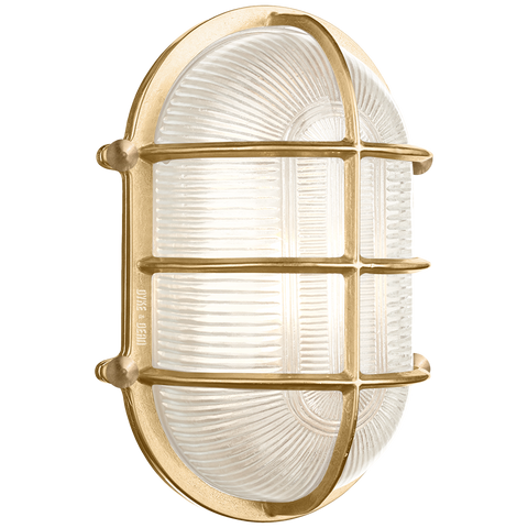 LARGE CAGE OVAL BRASS BULKHEAD LIGHT - BATHROOM / OUTDOOR LIGHTS - DYKE & DEAN  - Homewares | Lighting | Modern Home Furnishings