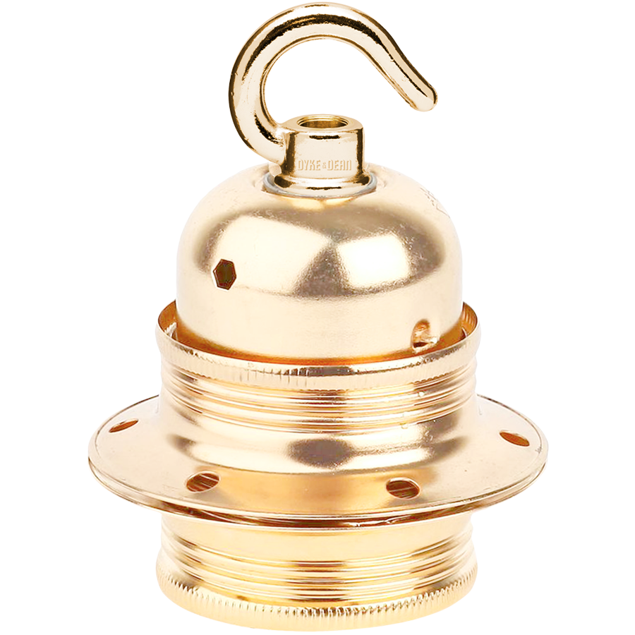 BRASS PLATED HOOKED E27 BULB HOLDER