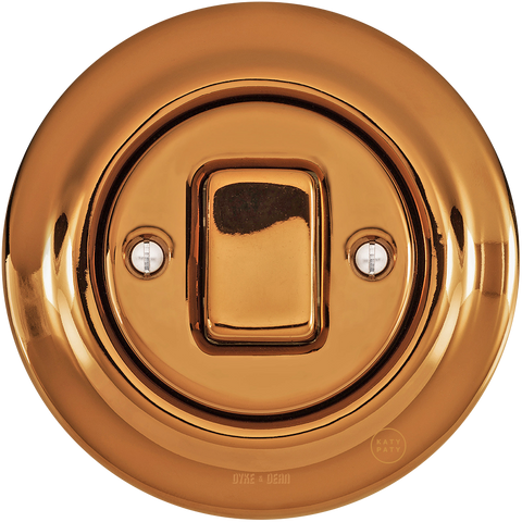 PORCELAIN WALL LIGHT SWITCH BRONZE FAT BUTTON - PORCELAIN WALL SWITCHES - DYKE & DEAN  - Homewares | Lighting | Modern Home Furnishings