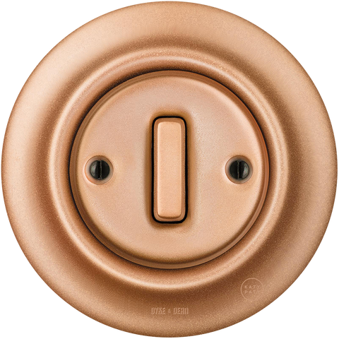 PORCELAIN WALL LIGHT SWITCH COPPER SLIM BUTTON - PORCELAIN WALL SWITCHES - DYKE & DEAN  - Homewares | Lighting | Modern Home Furnishings