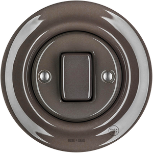 PORCELAIN WALL LIGHT SWITCH BROWN FAT BUTTON