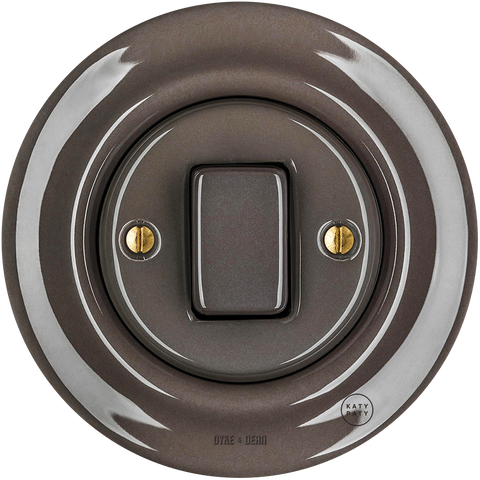 PORCELAIN WALL LIGHT SWITCH BROWN FAT BUTTON - PORCELAIN WALL SWITCHES - DYKE & DEAN  - Homewares | Lighting | Modern Home Furnishings