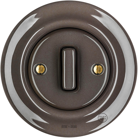 PORCELAIN WALL SWITCH BROWN SLIM BUTTON