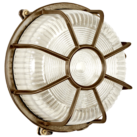 ROUND CAGED BRUSHED BRASS BULKHEAD LAMP - BATHROOM / OUTDOOR LIGHTS - DYKE & DEAN  - Homewares | Lighting | Modern Home Furnishings