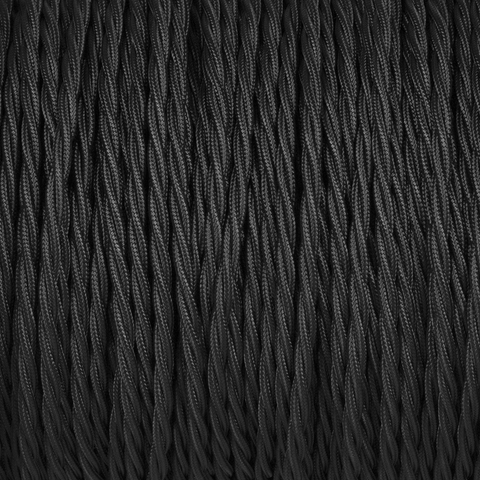 BLACK TWISTED FABRIC CABLE - FABRIC CABLE - DYKE & DEAN  - Homewares | Lighting | Modern Home Furnishings