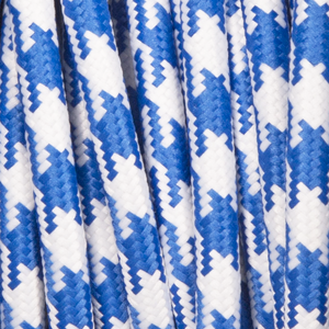 BLUE & WHITE DOG TOOTH ROUND FABRIC CABLE
