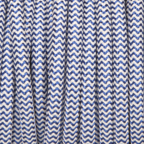 BLUE & WHITE ZIG ZAG SOLID FABRIC CABLE