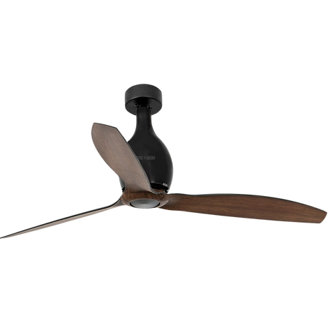 MATT BLACK WOOD ROTARY CEILING FAN SHORT