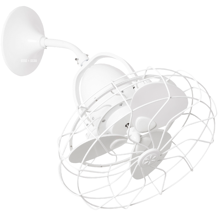 WALL AND CEILING CAGE FAN WHITE - FANS - DYKE & DEAN  - Homewares | Lighting | Modern Home Furnishings