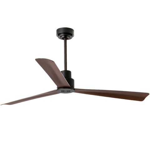 STEPPED BLACK WOOD REMOTE CEILING FAN