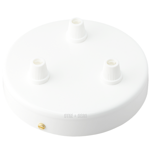WHITE 3 WAY CABLE CEILING ROSE