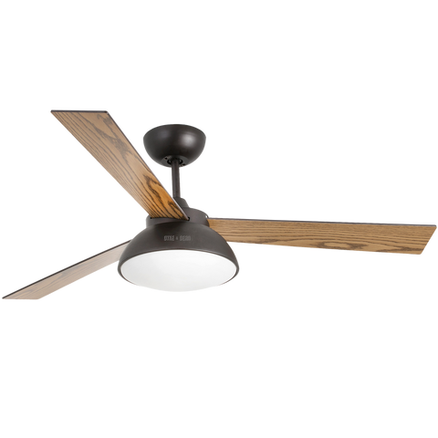 BLACK WOOD LED LAMP CEILING FAN