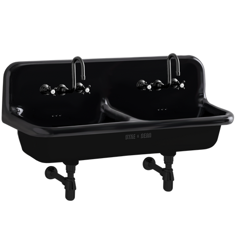 CERAMIC MOUNTED DOUBLE SINK BLACK