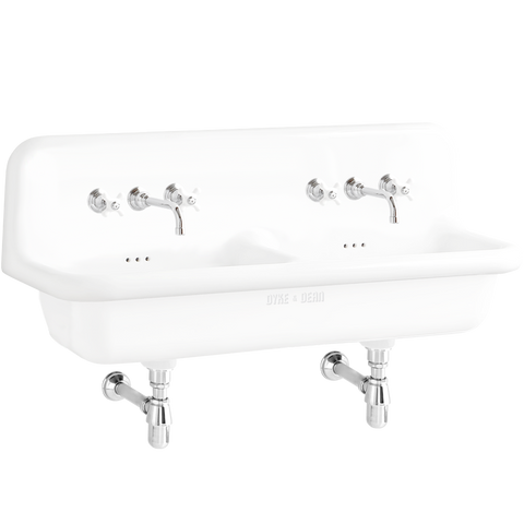 CERAMIC MOUNTED DOUBLE SINK WHITE