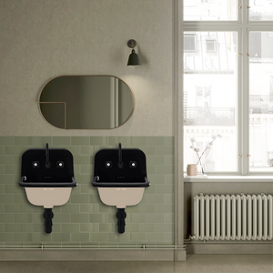 CERAMIC MOUNTED SMALL SINK BLACK