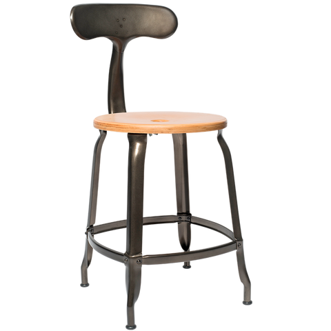 NICOLLE CHAIR STEEL WOOD SEAT 45cm