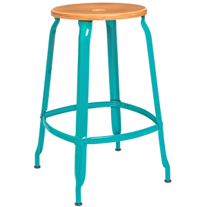 NICOLLE STOOL WOODEN SEAT 60cm - STOOLS - DYKE & DEAN  - Homewares | Lighting | Modern Home Furnishings